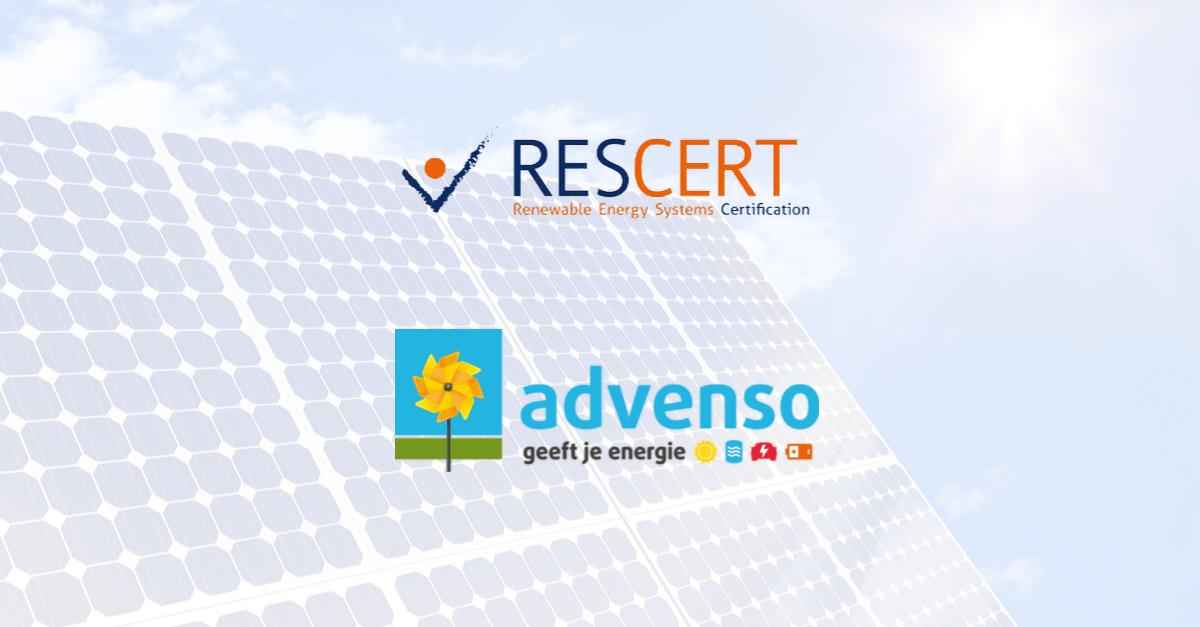RESCERT installateur zonnepanelen Advenso West-Vlaanderen en Oost-Vlaanderen
